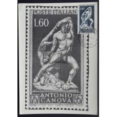Открытка (картмаксимум) - Antonio Canova, Italy. Антонио Канова, 1757-1957, Италия