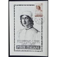 Открытка (картмаксимум) - Filippino Lippi, Italy. Филиппино Липпи, 1457-1957, Италия