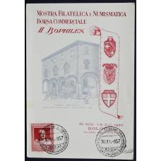 Открытка (картмаксимум) - Филателистическая и нумизматическая выставка, 1957, Италия
