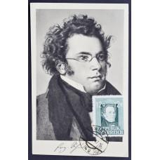 Открытка (картмаксимум) Franz Schubert, Австрия. Портрет Франца Шуберта