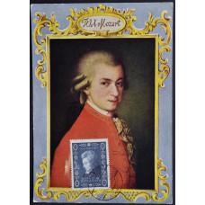 Открытка (картмаксимум) W.A. Mozart, Австрия. Вольфганг Амадей Моцарт