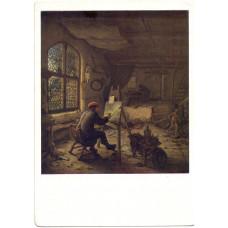 Открытка Адриан ван Остаде (1610-1685). Живописец в мастерской. 1663 г. Голландская школа. Чистая
