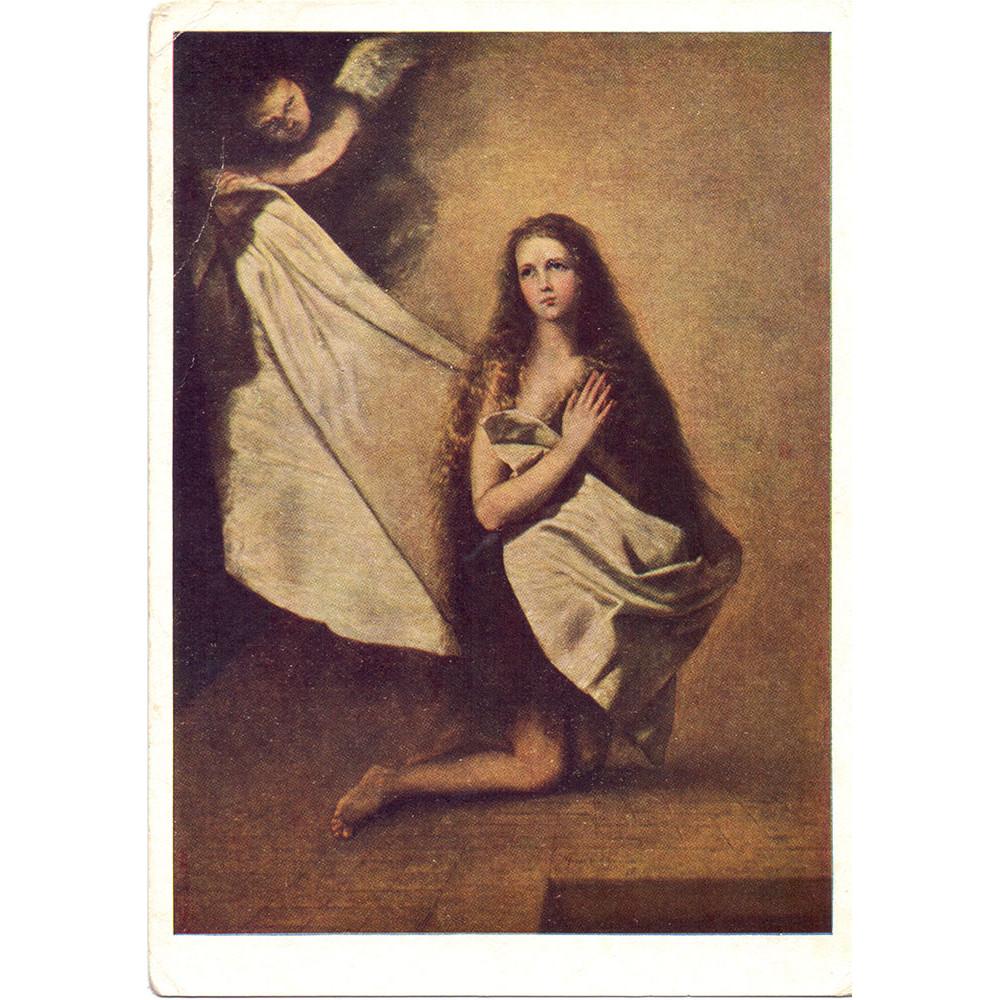 Открытка Хосе де Рибера (1591-1652). Св. Инеса и ангел, укрывающий ее покрывалом. 1641 г. Испанская школа. Чистая
