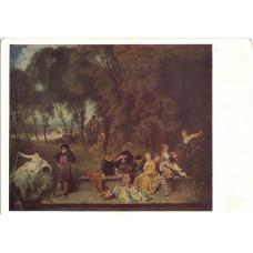 Открытка Антуан Ватто (1684-1721). Общество в парке. Французская школа. Чистая
