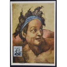 Открытка (картмаксимум) - Figura Decorativa, Michelangelo, Italy. Декоративная фигура, Микеланджело, Италия (2)