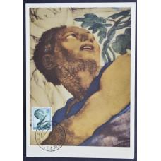 Открытка (картмаксимум) - Testa del Profeta Giona, Michelangelo, Italy. Пророк Иона, Микеланджело, Италия