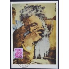 Открытка (картмаксимум) - Testa del Profeta Geremia, Michelangelo, Italy. Пророк Иеремия, Микеланджело, Италия