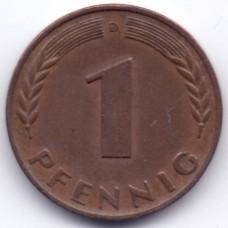 1 пфенниг 1950 Германия - 1 pfennig 1950 Germany, D, из оборота