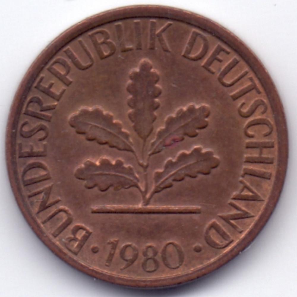 1 пфенниг 1980 Германия - 1 pfennig 1980 Germany, F, из оборота