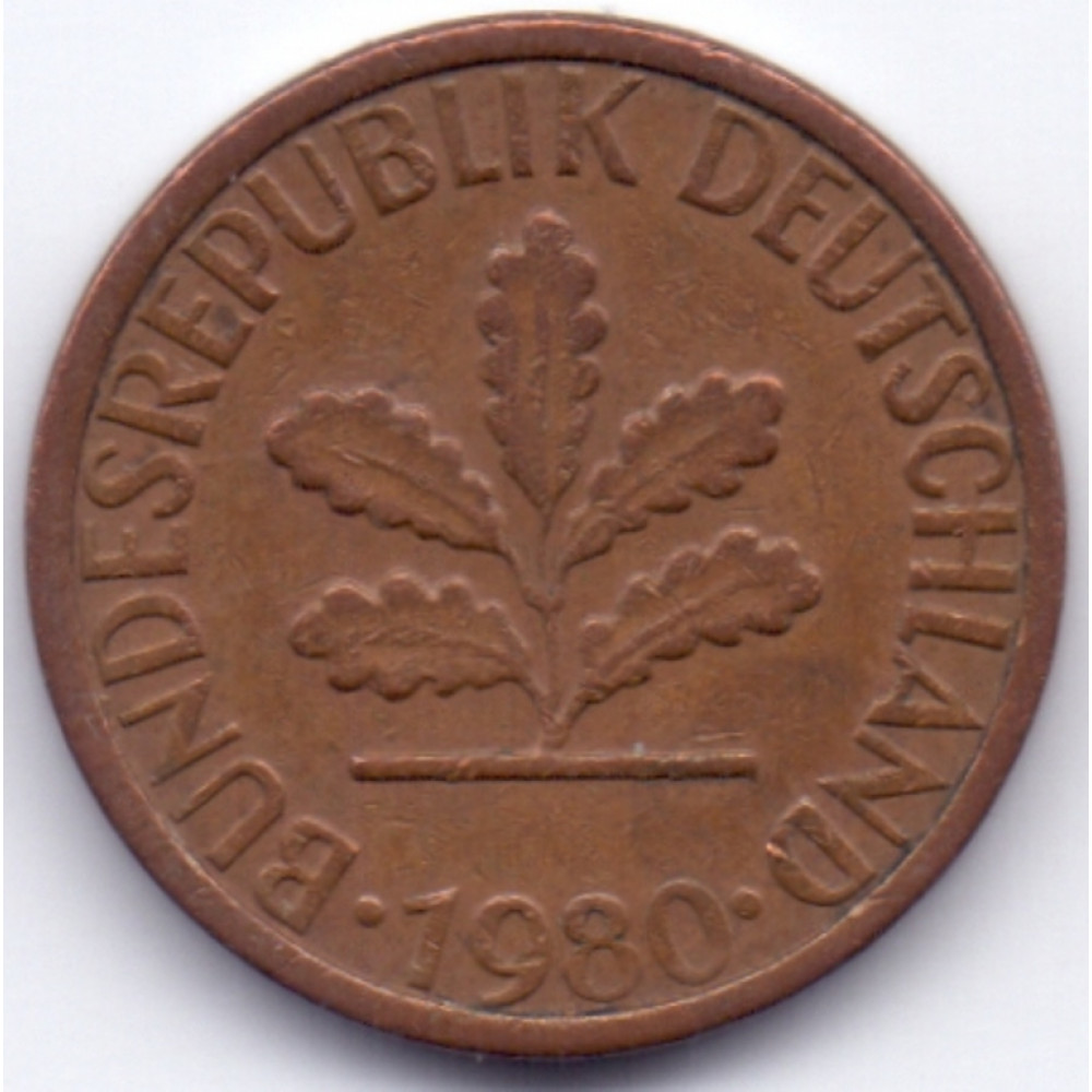 1 пфенниг 1980 Германия - 1 pfennig 1980 Germany, G, из оборота