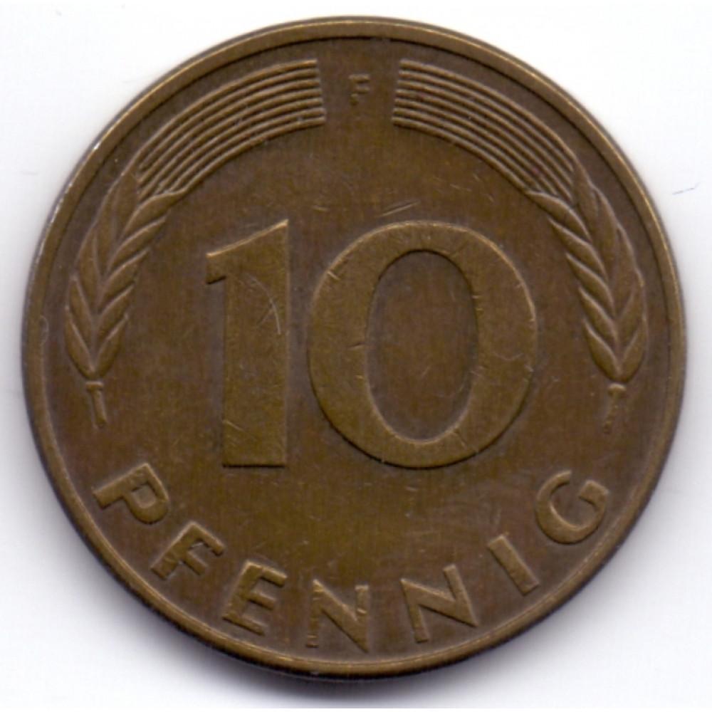 10 пфеннигов 1986 Германия - 10 pfennig 1986 Germany, F, из оборота