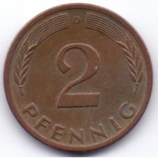 2 пфеннига 1975 Германия - 2 pfenniga 1975 Germany, D, из оборота