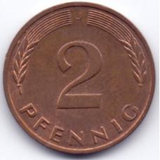 2 пфеннига 1989 Германия - 2 pfenniga 1989 Germany, J, из оборота