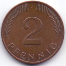 2 пфеннига 1991 Германия - 2 pfenniga 1991 Germany, J, из оборота