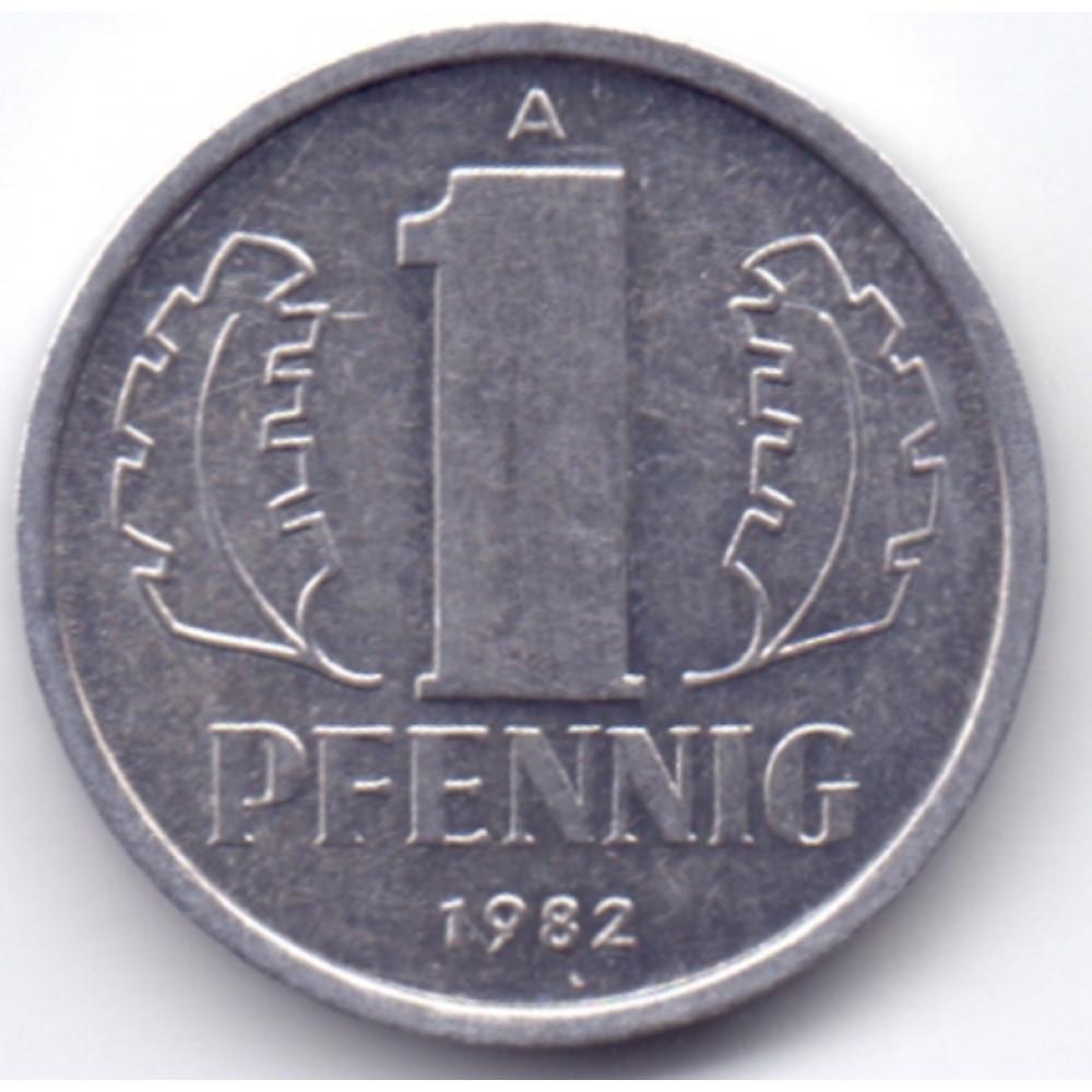 1 пфенниг 1982 Германия (ГДР) - 1 pfennig 1982 Germany (GDR), из оборота