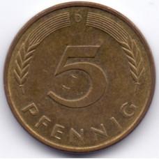 5 пфеннигов 1987 Германия - 5 pfennig 1987 Germany, D, из оборота