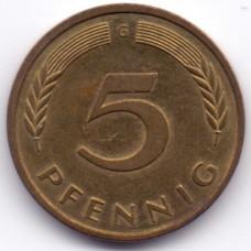 5 пфеннигов 1987 Германия - 5 pfennig 1987 Germany, G, из оборота