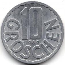 10 грошей 1969 Австрия - 10 groschen 1969 Austria, из оборота