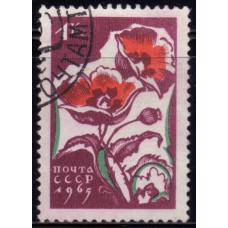 1965, Апрель. Почтовая марка СССР. Цветы, 1 копейка