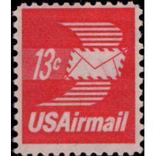1971-1973. Почтовая марка США. Крылатый конверт - Авиапочта, 13 центов