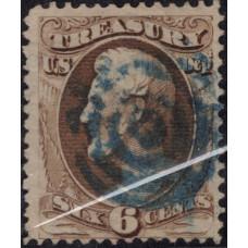 1879. Почтовая марка США. Выпуск Казначейства, 6 центов