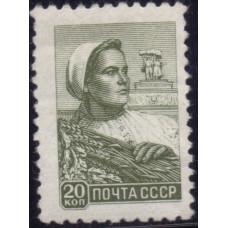 1959,  10 февраля. Почтовая марка СССР. Стандартный выпуск, Колхозница. 20 копеек
