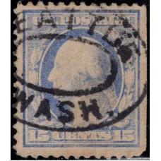 1909. Почтовая марка США. Джордж Вашингтон, 15 центов
