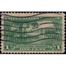 1925, апрель. Почтовая марка США. Выпуск Лексингтон-Конкорд, 1 цент