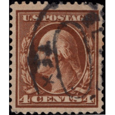 1908. Почтовая марка США. Джордж Вашингтон, 4 цента