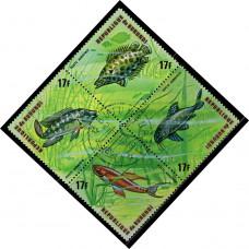1974, сентябрь. Почтовая марка Бурунди. Рыбы, 17Fr