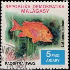 1982, декабрь. Почтовая марка Мадагаскара. Рыбы, 5Fr
