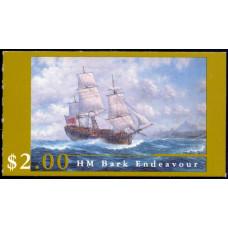 """1995, февраль. Почтовая марка Австралии (буклет). Парусник """"Endeavour"""""""