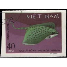 1980, август. Почтовая марка Вьетнама. Морская жизнь - акулы и скаты, 40xu