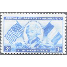 1952 Июнь. США, 175 лет со дня прибытия маркиза де Лафайета, 3 цента