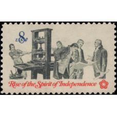 1973, февраль. Почтовая марка США. Восстание Духа Независимости, 8 центов