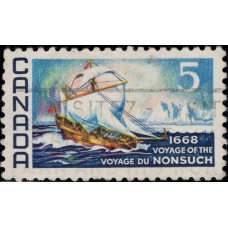 """1968, июнь. Почтовая марка Канады. 300-летие плавания """"Nonsuch"""", 5С"""