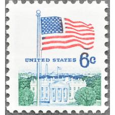 1968. США, Флаг над Белым домом, 6 центов