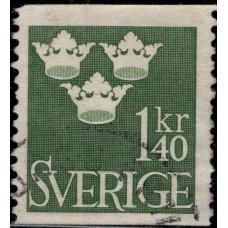 1948, апрель. Почтовая марка Швеции. Король Густав V, 1.40KR