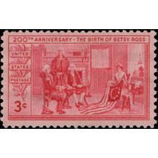 1952, январь. Почтовая марка США. 200 лет со дня рождения Бетси Росс, 3 цента