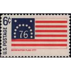 1968. Почтовая марка США. Исторические флаги - Флаг Беннингтона, 6 центов