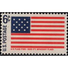 1968. Почтовая марка США. Исторические флаги - Форт МакГенри, 6 центов