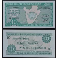 10 франков 1991 Бурунди - 10 Francs 1991 Burundi