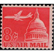 1962, декабрь. Почтовая марка США. Самолет над Капитолием - Авиапочта, 8C
