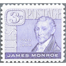1958 Апрель. США, 200 лет со дня рождения Джеймса Монро, 3 цента