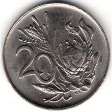 20 центов 1990 ЮАР - 20 cents 1990 South Africa, из оборота