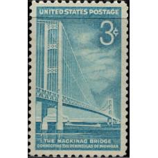1958, июнь. Почтовая марка США. Макино мост, 3 цента