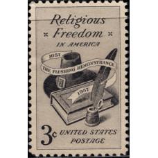 1957, декабрь. Почтовая марка США. Религиозная свобода, 3 цента