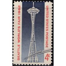 1962, апрель. Почтовая марка США. Всемирная выставка в Сиэтле, 4 цента