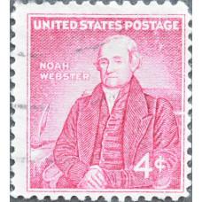 1958 Октябрь. США, 200 лет со дня рождения Ноя Вебстера, 4 цента