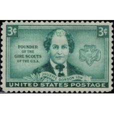 1948, октябрь. Почтовая марка США. Девочки-скауты - Джульетта Гордон Лоу, 3 цента